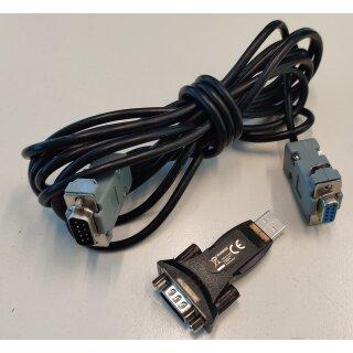 RS232 Nullmodemkabel + Adapter von RS232 auf USB